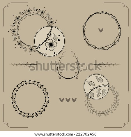 Set of hand drawn frames and laurels. Vignette curl ornamental elements that can be used as a page decoration. Hand drawn design - stock vector