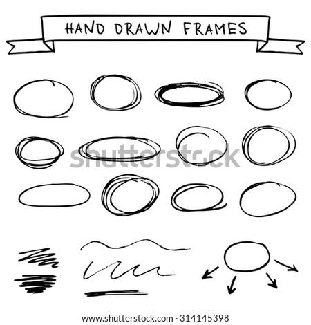 Set of hand drawn frames scribble circles - stock vector
