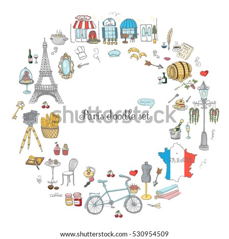 set hand drawn french icons paris stock vector 530954509. Black Bedroom Furniture Sets. Home Design Ideas