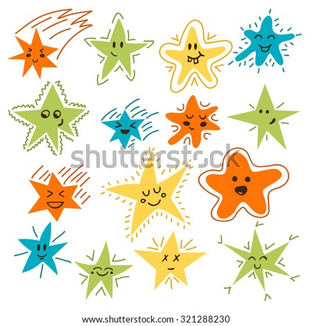 Set of hand drawn funny stars. Cartoon comic style for your design. Vector illustration