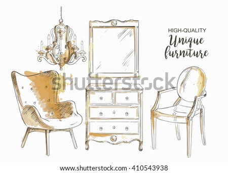Set of hand drawn furniture and interior detail store, apartment, promotion, sale, ads
