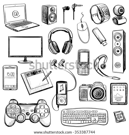 Set of hand drawn GADGET icons with notebook, phone, game pad, photo camera, tablet, pc, flash card, headphones, watches, computer, laptop, monitor, headphones and other - stock vector
