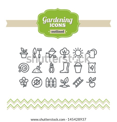 Set of hand drawn gardening icons