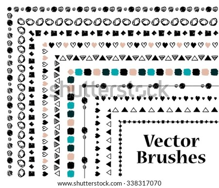 Set of hand-drawn geometric ink brushes with inner and outer corner tiles. Vector illustration. - stock vector