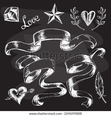 Set of hand-drawn graphic design elements - stock vector