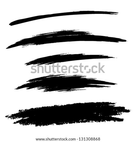 Set of Hand Drawn Grunge Brush Lines, vector illustration - stock vector