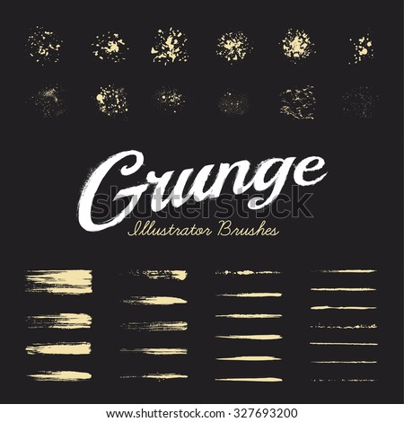 Set of hand-drawn grunge brushes. Vector paint brushes. Dirty ink texture brushes. Art brushes collection. - stock vector