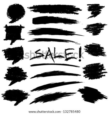 Set of Hand Drawn Grunge Elements, vector illustration - stock vector