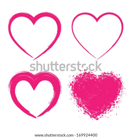 Set of Hand Drawn Grunge Hearts logo, vector illustration  - stock vector