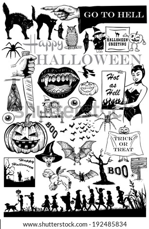 Set of hand drawn Halloween icons, vector - stock vector