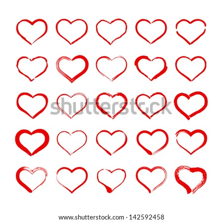 Set of Hand Drawn Heart Icons - stock vector