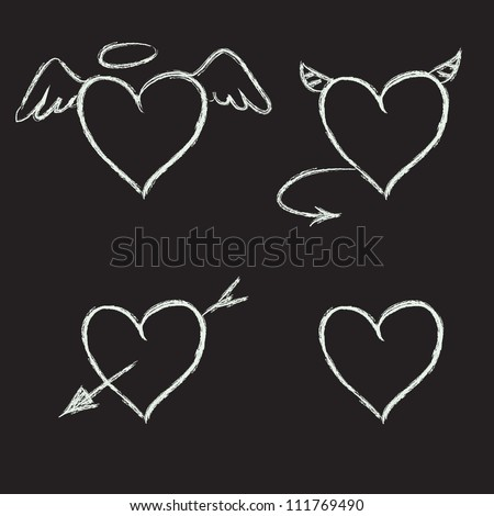 Set of hand drawn hearts on chalkboard background. Vector illustration. - stock vector