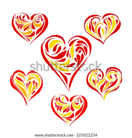 Set of hand drawn hearts with pen brush for your design - stock vector