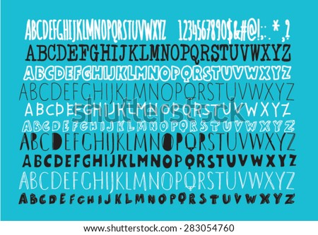 set of 10 hand drawn hipster typefaces - stock vector