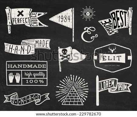 Set of hand drawn hipster vintage badges, borders, frames and labels on chalk board background. eps10 - stock vector