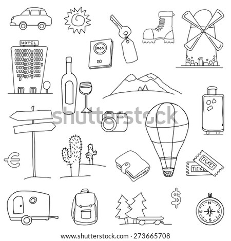 Set of hand drawn holiday, travel icons, vector illustration - stock vector