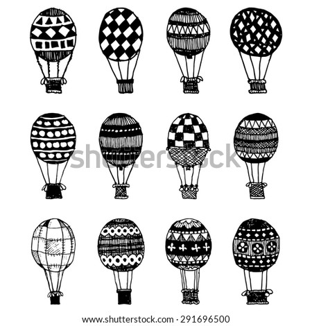set of hand drawn hot air balloons, isolated on white - stock vector