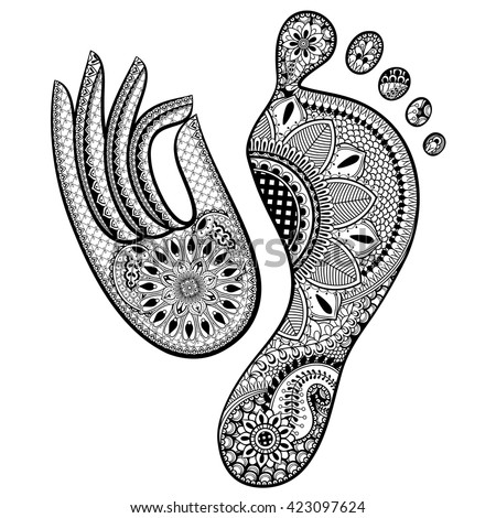 Set of Hand drawn Human Footprint and Yoga Mudra Hand. Ethnic Vector illustration in zentangle style  isolated on white background. Sketch for adult anti stress coloring pages, tattoo, t-shirt