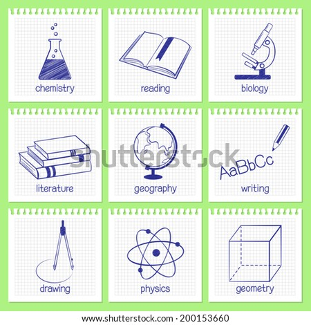 Set of hand drawn icons and emblems for school educational subjects - stock vector