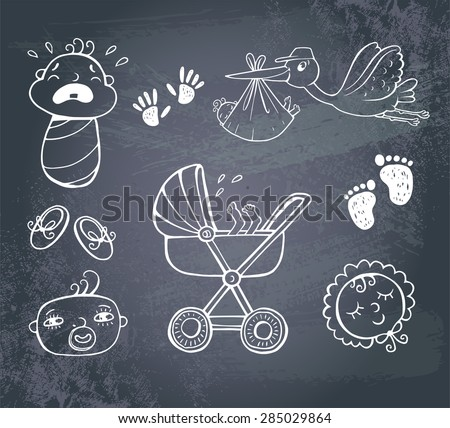 Set of hand-drawn icons baby toys and accessories on a blackboard.. - stock vector
