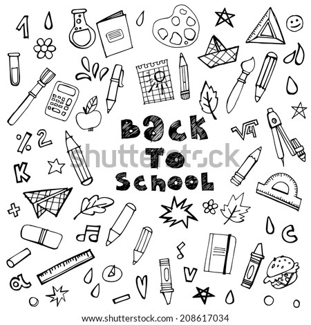 Set of hand-drawn icons on a school theme. Back to school. Vector stamp. - stock vector