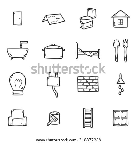 Set of hand drawn icons on home remodeling theme: door, wall, paint, brush, light, window, ladder. House improvement concept for your design - stock vector