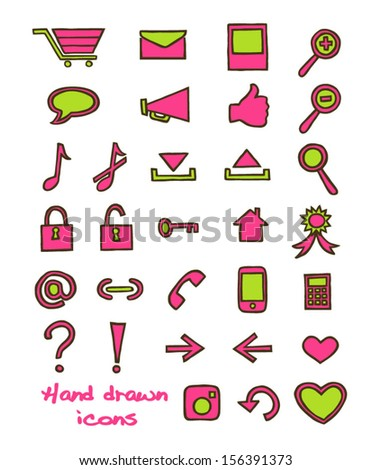 Set of hand drawn icons. Vector illustration.