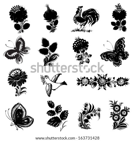 set of hand drawn illustrations in Ukrainian national style - stock vector