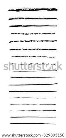 Set of hand drawn ink brush strokes. Vector brush. - stock vector