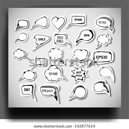 Set of hand-drawn ink speech and thought bubbles with realistic shadows. Doodle vector illustration. - stock vector