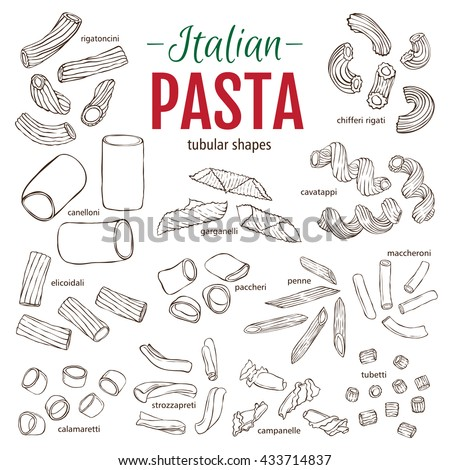 Set of hand drawn Italian pasta tubular shapes. Hand drawn vector illustration. Sketch style