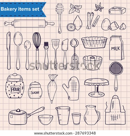 Set of hand drawn kitchen items for baking - stock vector
