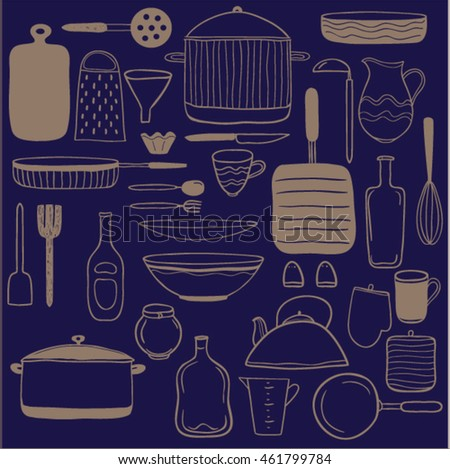 Set of hand drawn kitchen utensils icons. Vector doodle objects. Sketch and craft background.clip art for design.