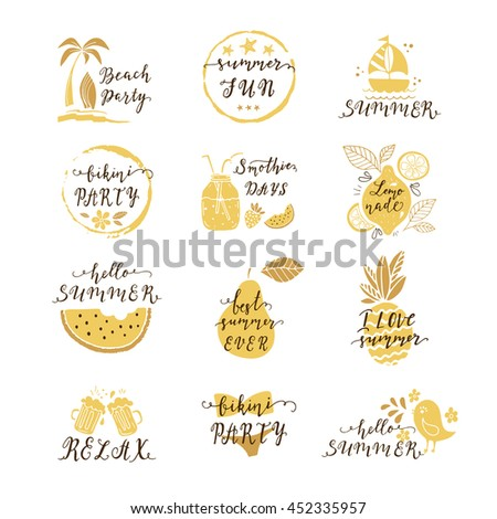 Set of hand drawn labels, stickers of summer with hand lettering. Perfect for summer holiday, travel and vacation, restaurant and bar, menu, sea and sun, beach vacation and party. Vector illustrations