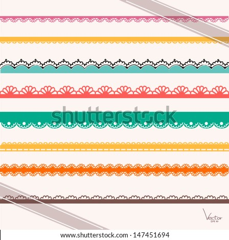 Set of hand-drawn Lace Paper Punch Borders and Ribbon  - stock vector