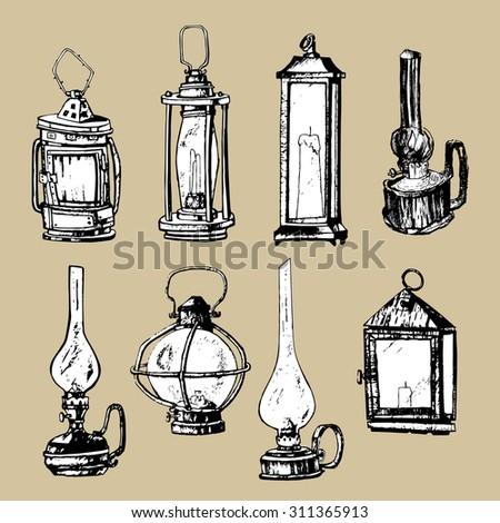 Set Of Hand Drawn Lanterns And Vintage Lamps Vector Illustration