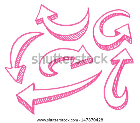 Set of hand drawn large arrows pointing in different directions. Signs isolated on white background. Pink. - stock vector