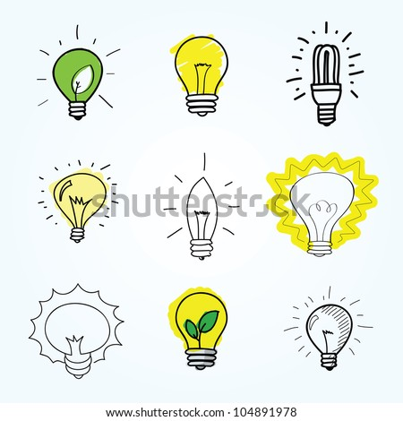 Set of Hand-drawn light bulbs - stock vector