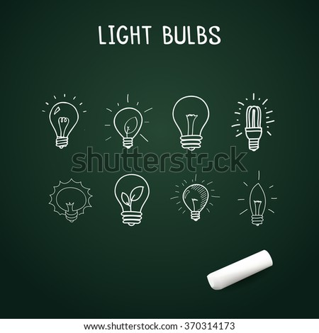 Set of Hand-drawn light bulbs, doodle icons with chalk