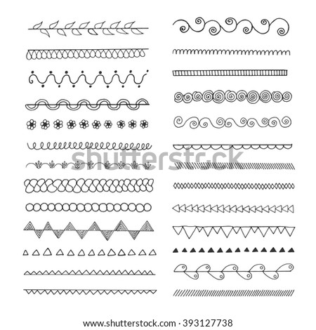 Set of hand drawn line  borders. Scribble and doodle design element. Ethnic, vintage fashion pattern. Design collection for badges, banners, posters, placards, lables, invitations and logotypes. - stock vector