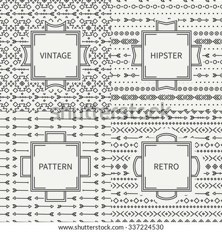 Set of hand drawn line ink geometric ethnic seamless pattern. Frames. Doodles style. Tribal native vector illustration. Aztec background. Greeting cards, invitations. Labels, badges. - stock vector