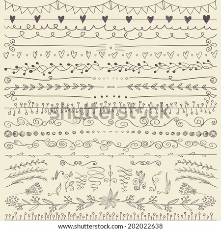 Set of hand drawn lines border and elegant design elements. Illustration vector. Can be use as decoration. - stock vector