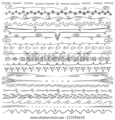 Set of hand drawn lines border and elegant design elements. White and black colors. Illustration vector. Can be use as decoration. - stock vector