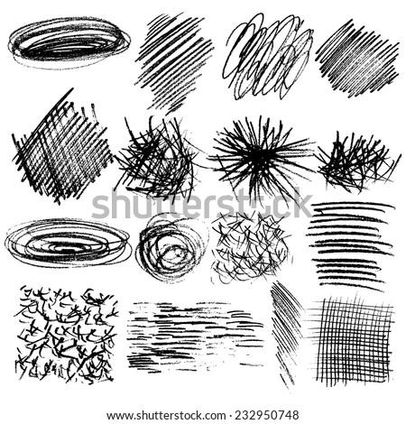 set of hand drawn lines textures, scribbles of pen, hatching, scratch - stock vector