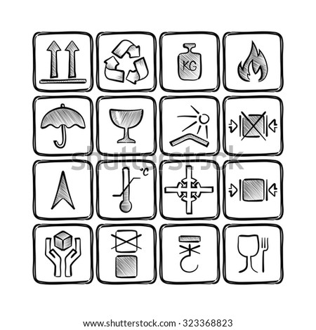 set of hand drawn logistics icons