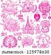 Set of hand drawn love sketchy - stock vector