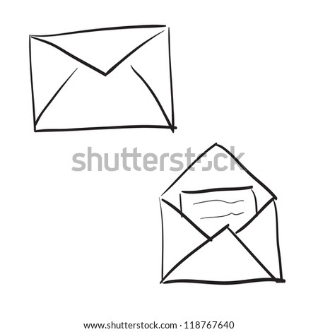 Set of hand drawn mail - stock vector