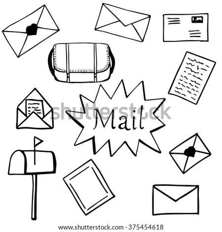 Set of hand drawn mail. Ink illustration. Vector.
