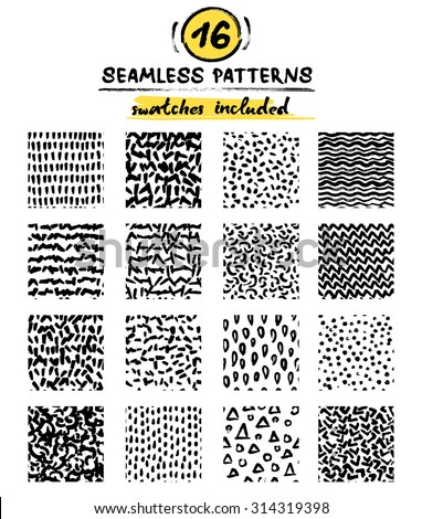 Set of hand drawn marker and ink seamless patterns. Black and white simple vector scratchy textures with dots, strokes and doodles. Ready to use, pattern swatches are included in file. - stock vector