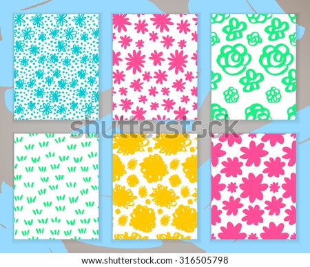 Set of hand-drawn marker doodle patterns. Vector colorful sketch background collection. Invitation card with flowers.. - stock vector